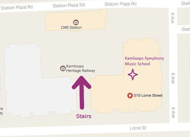 screenshot of Google map showing the location of the Kamloops Symphony Music School